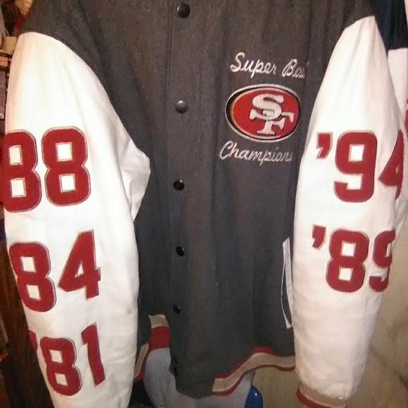 pretty nice b72ea 1fc0b 49ers varsity letterman real leather thick satin i